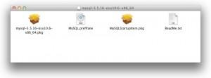 MySQLのDMGの中。PrefPaneのインストールは「MySQL.prefPane」をダブルクリック。